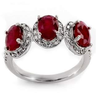 3.08 ctw Ruby & Diamond Ring 10k White Gold - REF-25Y9X