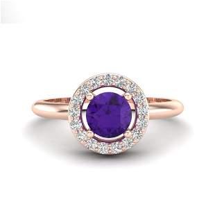 0.75 ctw Amethyst & Micro VS/SI Diamond Certified Ring