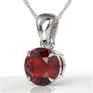 2 ctw Garnet Designer Necklace 18k White Gold -