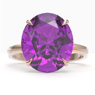 9 ctw Amethyst Designer Solitaire Engagment Ring 14k