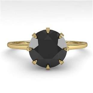 2.0 ctw Black Diamond Solitaire Vintage Ring 14k Yellow