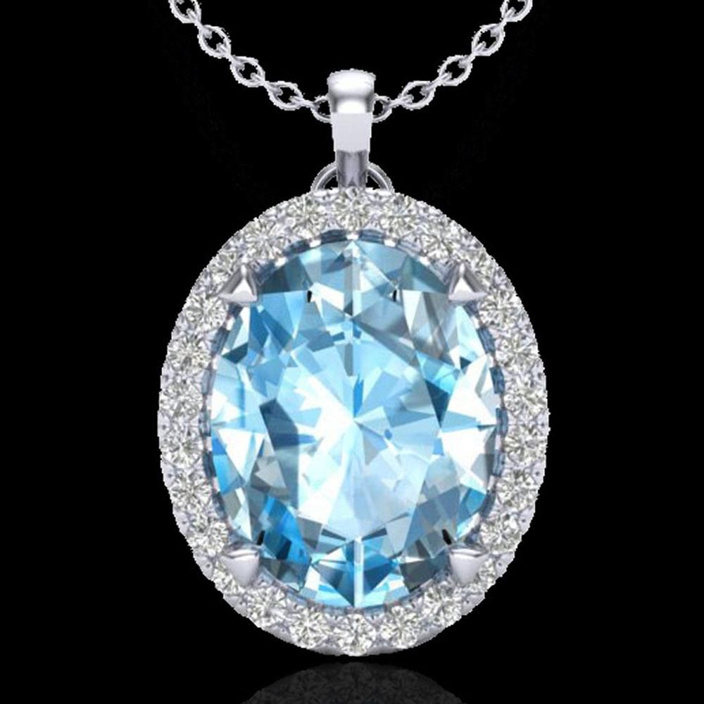 2.75 ctw Sky Blue Topaz & Micro VS/SI Diamond Necklace