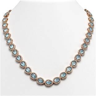 33.35 ctw Aquamarine & Diamond Micro Pave Halo Necklace