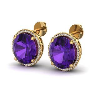 20 ctw Amethyst & Micro VS/SI Diamond Pave Earrings 18k