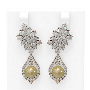 7.05 ctw Diamond & Pearl Earrings 18K Rose Gold -