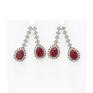 15.49 ctw Ruby & Diamond Earrings 18K Rose Gold -