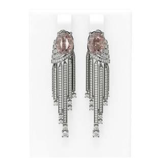 7.94 ctw Morganite & Diamond Earrings 18K White Gold -