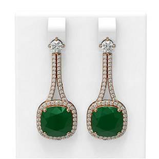 12.28 ctw Emerald & Diamond Earrings 18K Rose Gold -