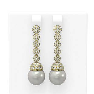 2.75 ctw Diamond & Pearl Earrings 18K Yellow Gold -
