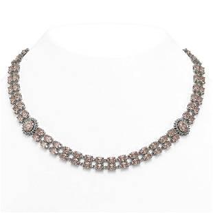 36.2 ctw Morganite & Diamond Necklace 14K White Gold -