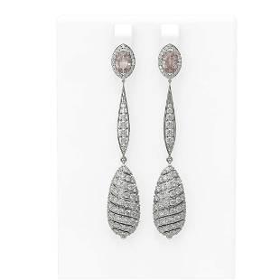 5.88 ctw Morganite & Diamond Earrings 18K White Gold -