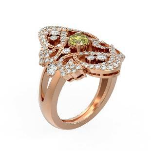 2.02 ctw Fancy Yellow Diamond Ring 18K Rose Gold -