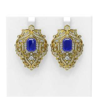 15.07 ctw Sapphire & Diamond Earrings 18K Yellow Gold -