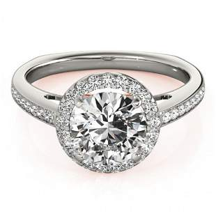 1.3 ctw Certified VS/SI Diamond Solitaire Halo Ring 14k