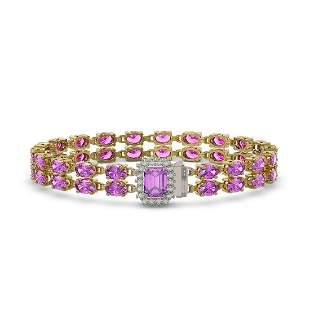 13.83 ctw Amethyst & Diamond Bracelet 14K Yellow Gold -