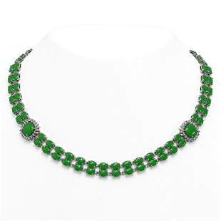 29.39 ctw Jade & Diamond Necklace 14K White Gold -