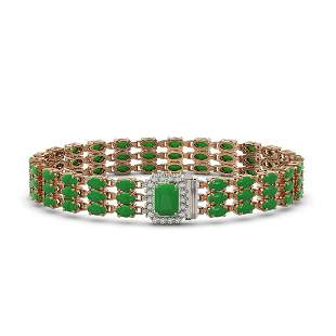 18.41 ctw Jade & Diamond Bracelet 14K Rose Gold -