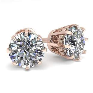 2.0 ctw VS/SI Diamond Stud Earrings Vintage 14k Rose