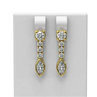 2.14 ctw Diamond Earrings 18K Yellow Gold - REF-277H3R