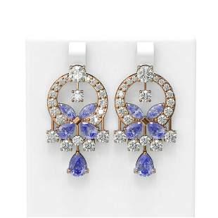 15.33 ctw Tanzanite & Diamond Earrings 18K Rose Gold -