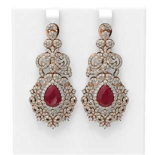 13.62 ctw Ruby & Diamond Earrings 18K Rose Gold -