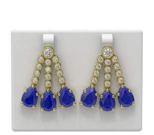 24.78 ctw Sapphire & Diamond Earrings 18K Yellow Gold -