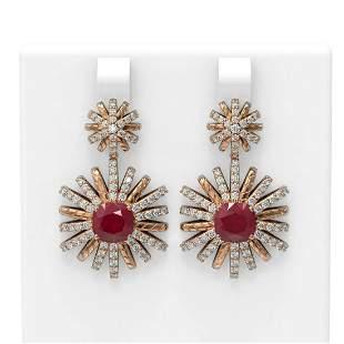 6.23 ctw Ruby & Diamond Earrings 18K Rose Gold -