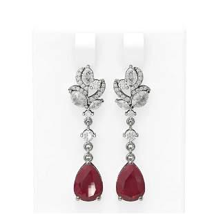 9.22 ctw Ruby & Diamond Earrings 18K White Gold -