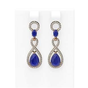 9.85 ctw Sapphire & Diamond Earrings 18K Rose Gold -