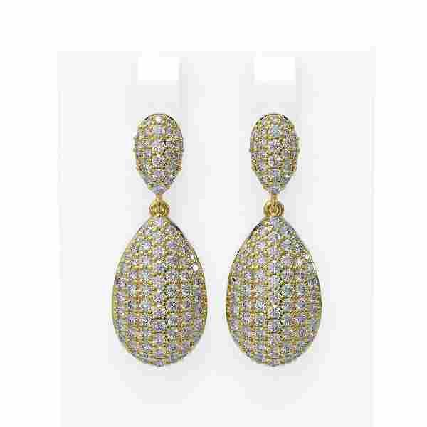 4.55 ctw Diamond Earrings 18K Yellow Gold - REF-330N5F