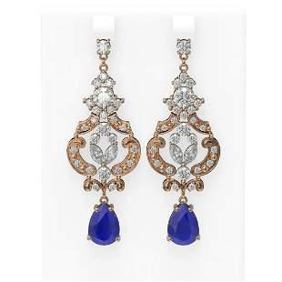 12.64 ctw Sapphire & Diamond Earrings 18K Rose Gold -