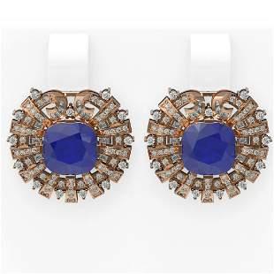 12.55 ctw Sapphire & Diamond Earrings 18K Rose Gold -