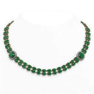 43.97 ctw Emerald & Diamond Necklace 14K Rose Gold -