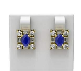 3.83 ctw Sapphire & Diamond Earrings 18K Yellow Gold -