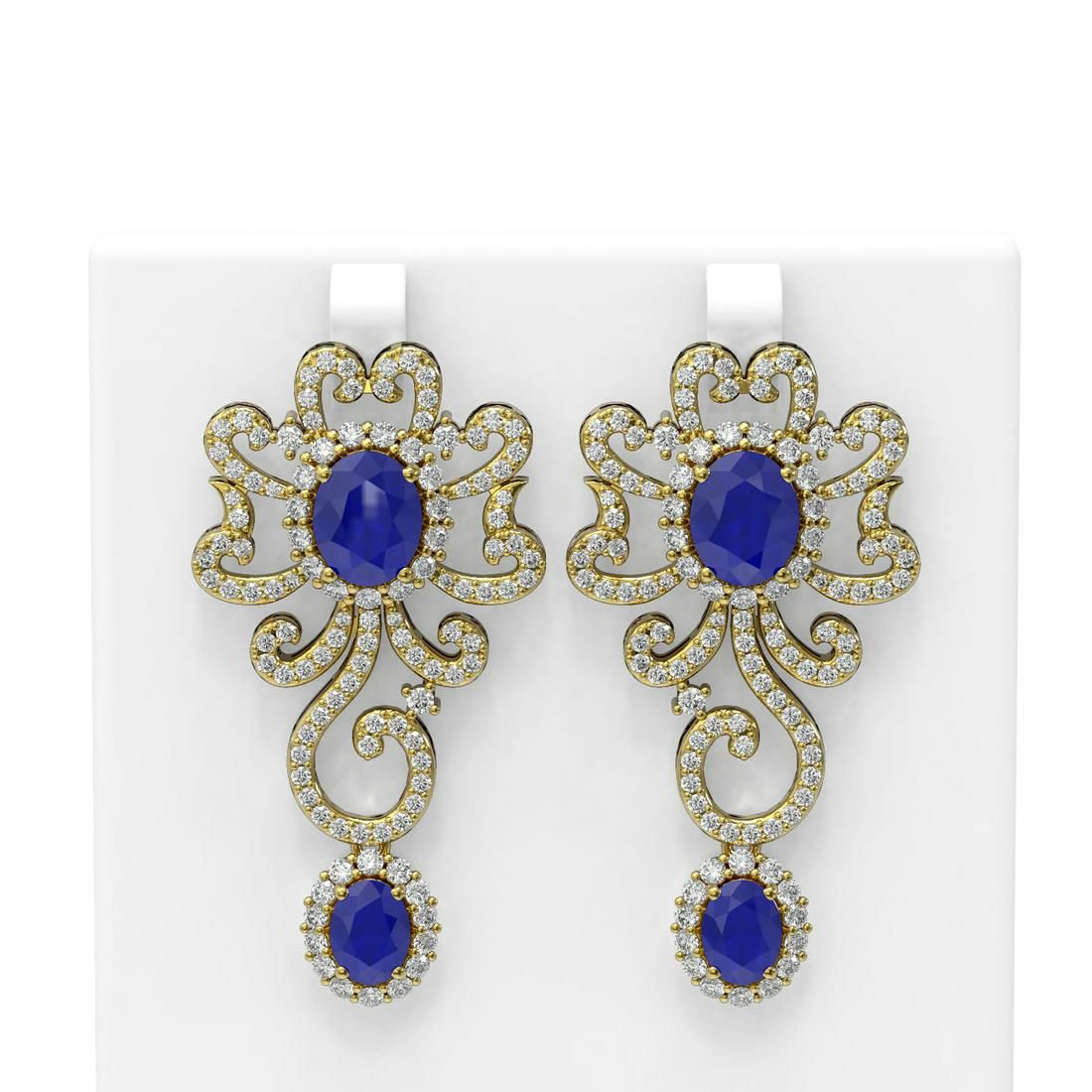16.75 ctw Sapphire & Diamond Earrings 18K Yellow Gold -