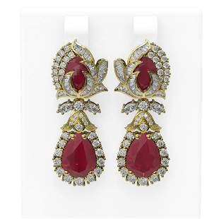 14.63 ctw Ruby & Diamond Earrings 18K Yellow Gold -