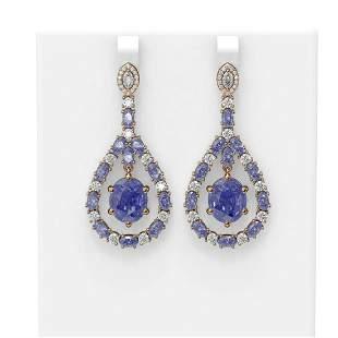 20.36 ctw Tanzanite & Diamond Earrings 18K Rose Gold -