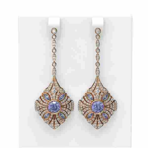 4.19 ctw Tanzanite & Diamond Earrings 18K Rose Gold -