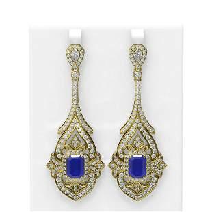 21.43 ctw Sapphire & Diamond Earrings 18K Yellow Gold -