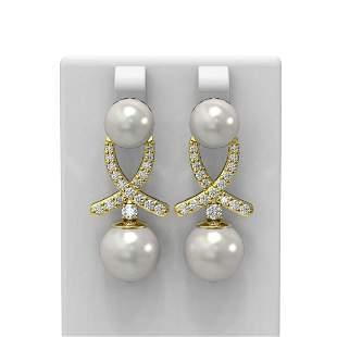 1.3 ctw Pearl & Diamond Earrings 18K Yellow Gold -