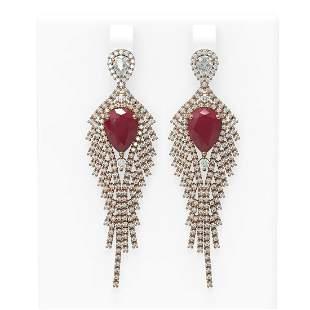 11.22 ctw Ruby & Diamond Earrings 18K Rose Gold -