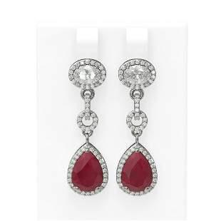 8.82 ctw Ruby & Diamond Earrings 18K White Gold -