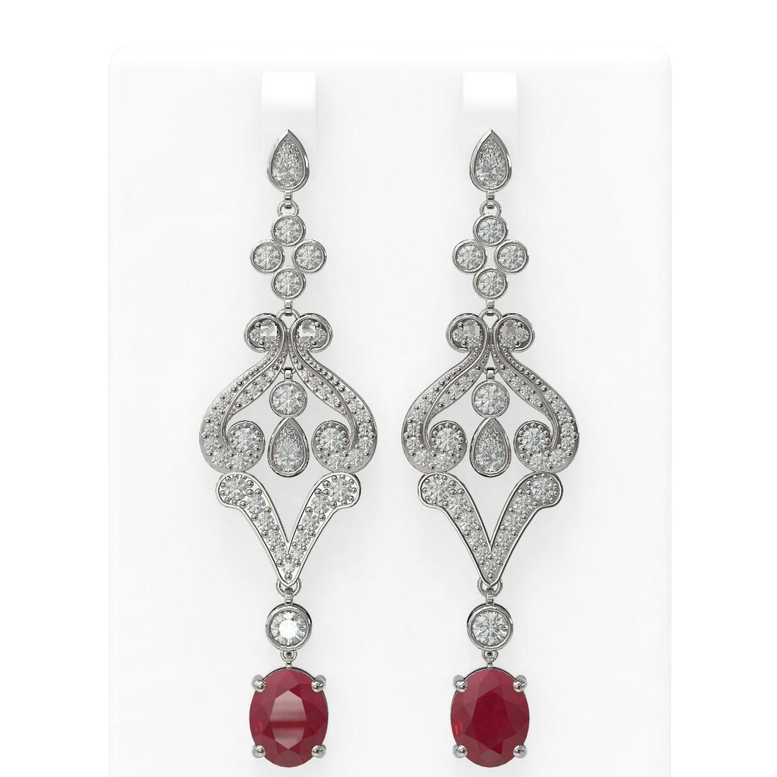 11.15 ctw Ruby & Diamond Earrings 18K White Gold -