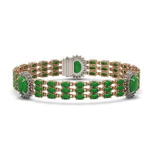 23.92 ctw Jade & Diamond Bracelet 14K Rose Gold -