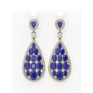 27.47 ctw Sapphire & Diamond Earrings 18K Rose Gold -
