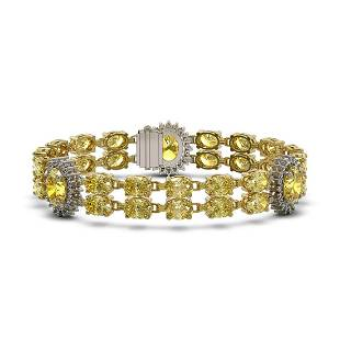 15.74 ctw Citrine & Diamond Bracelet 14K Yellow Gold -