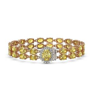 14.14 ctw Citrine & Diamond Bracelet 14K Rose Gold -