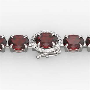 32 ctw Garnet & VS/SI Diamond Eternity Micro Bracelet