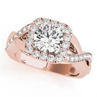 1.4 ctw Certified VS/SI Diamond Halo Ring 14k Rose Gold