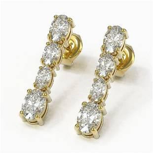 3.74 ctw Oval Diamond Earrings 18K Yellow Gold -